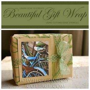 Learn how to stencil gift wrap using the Silence Stencil from Cutting Edge Stencils. http://www.cuttingedgestencils.com/tree-stencil-kit.html