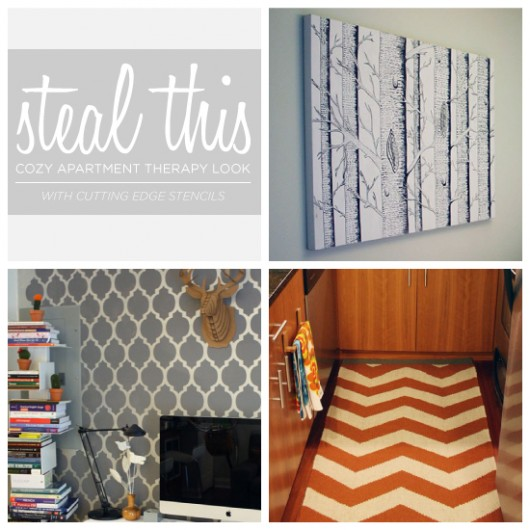 Cutting Edge Stencils shares how to steal this cozy apartment look using stencils and Benjamin Moore paints. http://www.cuttingedgestencils.com/wall-stencils-stencil-designs.html