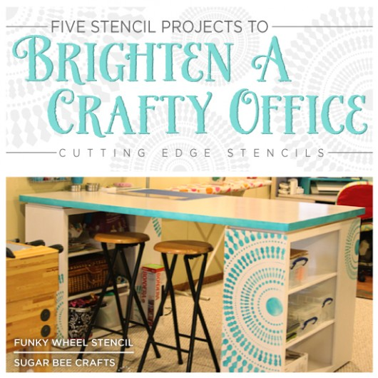 Cutting Edge Stencils shares ideas to help brighten an office or craft space! http://www.cuttingedgestencils.com/wall-stencils-stencil-designs.html