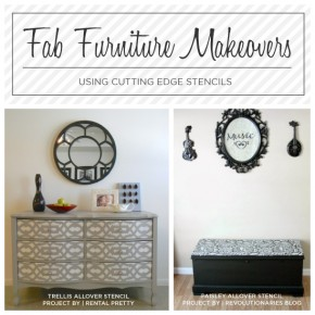 DIY stenciled furniture ideas using Cutting Edge Stencils. http://www.cuttingedgestencils.com/craft-stencils-furniture-stencils.html