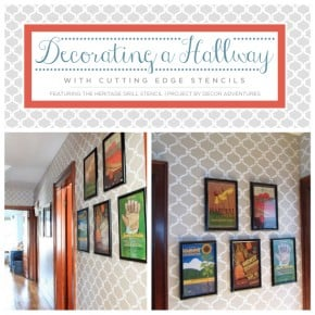 Cutting Edge Stencils shares a stenciled hallway using the Heritage Grill stencil pattern. http://www.cuttingedgestencils.com/heritage-grill-allover-stencil.html