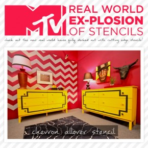 MTV Real World Ex-plosion house is decked out with Cutting Edge Stencils' designs. http://www.cuttingedgestencils.com/wall-stencils-stencil-designs.html