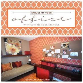 A stenciled home office makeover using the Casablanca Allover pattern from Cutting Edge Stencils. http://www.cuttingedgestencils.com/allover-stencils.html