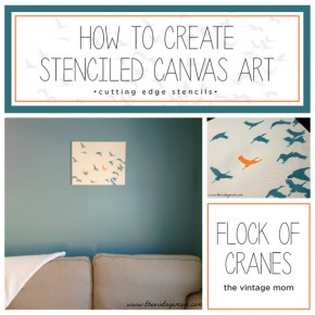 Learn how to create DIY stenciled canvas wall art using the Flock of Cranes Stencil. http://www.cuttingedgestencils.com/bird-flock-wall-stencil-pattern.html