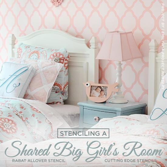 Stenciling A Shared Big Girlu0027s Room