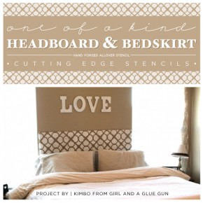 Stenciling a One of A Kind Headboard & Bedskirt