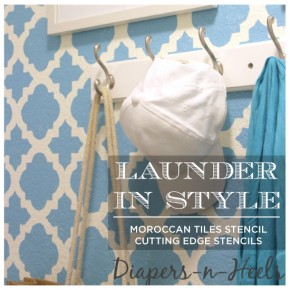 A DIY stenciled laundry room using the Moroccan Tiles stencil. http://www.cuttingedgestencils.com/moroccan-tiles-wall-pattern.html