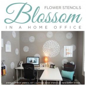 A stenciled office makeover using the Zinnia Grande pattern. http://www.cuttingedgestencils.com/flower-stencil-zinnia-wall.html