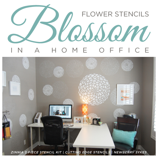 Flower Stencils Blossom In A Home Office on dynasty home designs, house home designs, modern family home designs, empty nest home designs, castle home designs, las vegas home designs, bamboo home designs, popular home designs,