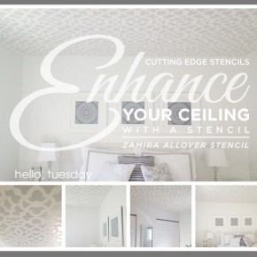 A gray stenciled bedroom ceiling using the Zamira Allover Stencil. http://www.cuttingedgestencils.com/moroccan-stencil-designs.html
