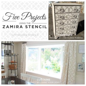 Cutting Edge Stencils shares stencil projects using the Zamira Allover pattern. http://www.cuttingedgestencils.com/moroccan-stencil-designs.htm