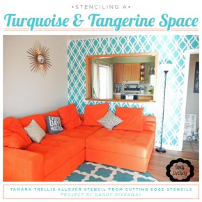 Stenciling A Turquoise and Tangerine Space