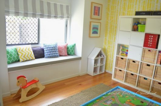 A DIY stenciled playroom accent wall using the Birch Forest Allover Stencil from Cutting Edge Stencils. http://www.cuttingedgestencils.com/allover-stencil-birch-forest.html
