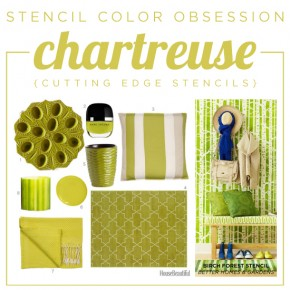 Cutting Edge Stencils shares chartreuse stenciled home decor and room ideas. http://www.cuttingedgestencils.com/wall-stencils-stencil-designs.html