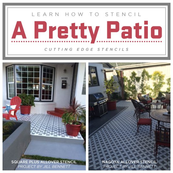 Learn How To Stencil A Pretty Patio on outside walk designs, outside railing designs, outside stairwell designs, outside home designs, outside trellis designs, outside brick designs, outside bedroom window designs, outside covered patio designs, outside tv designs, outside handrail designs, outside furniture designs, outside stone designs, outside grill designs, outside shower designs, outside ceiling designs, outside paint designs, outside wood designs, outside fireplace designs, outside spa designs, outside entryway designs,