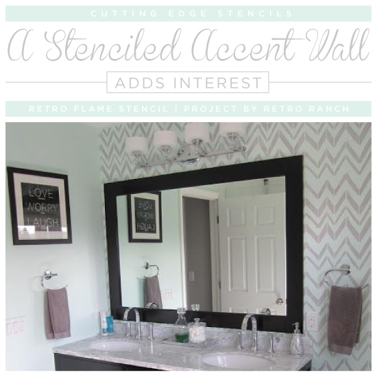 Accent Wall Bathroom: A Stenciled Accent Wall Adds Interest