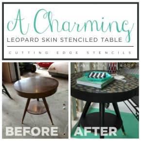 Cutting Edge Stencils shares a DIY stenciled side table using the Leopard Skin Allover pattern. http://www.cuttingedgestencils.com/leopard-pattern-animal-skin-stencil.html
