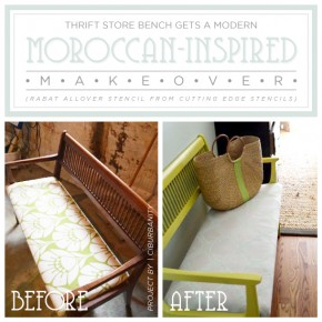 Thrift Store Bench Gets A Modern Moroccan-Inspired Makeover