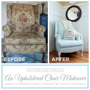 A DIY painted and stenciled upholstered chair using the Gabrielle Damask pattern. http://www.cuttingedgestencils.com/damask-stencil-3.html