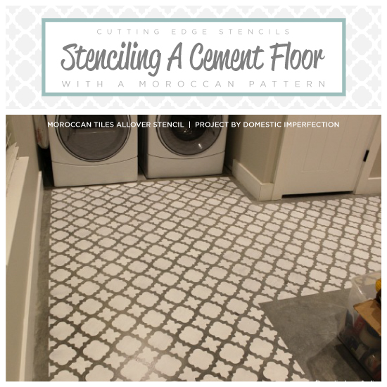 Stenciling A Cement Floor With A Moroccan Pattern