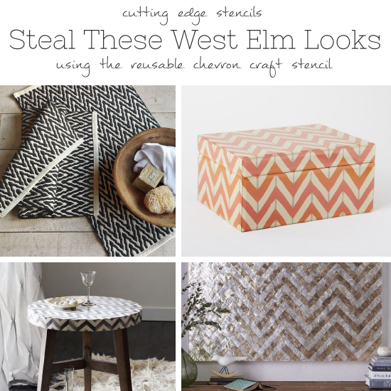 Cutting Edge Stencils shares how to steal these popular West Elm decor items using the Chevron Craft stencil. http://www.cuttingedgestencils.com/chevron-stencil-templates-stencils.html
