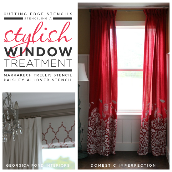 Cutting Edge Stencils shares DIY stenciled window treatment ideas. http://www.cuttingedgestencils.com/wall-stencils-stencil-designs.html