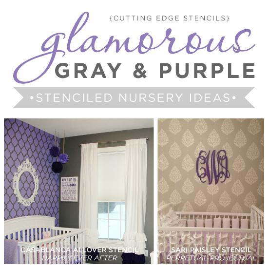 Glamorous Gray and Purple Stenciled Nursery Ideas