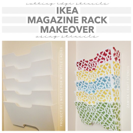 A DIY stenciled Ikea magazine rack using the Zamira card size stencil. http://www.cuttingedgestencils.com/zamira-stencil-template-card-scrapbook-stencil.html