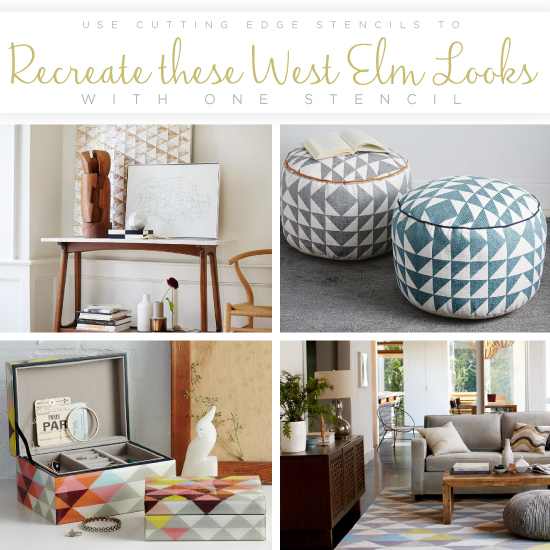 Cutting Edge Stencils shares how to recreate these West Elm decor itemsusing the Symmetry Allover triangle stencil. http://www.cuttingedgestencils.com/symmetry-geometric-stencil-pattern.html