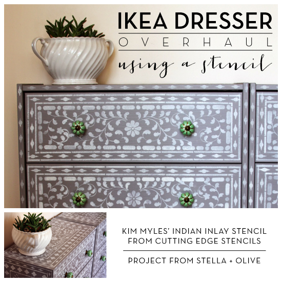 Ikea dresser overhaul using a stencil stencil stories Ikea furniture makeover