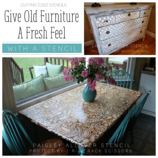 Cutting Edge Stencils shares DIY stenciled furniture ideas using stencil patterns. http://www.cuttingedgestencils.com/paisley-allover-stencil.html