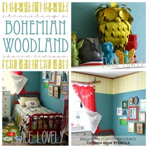 Stenciling a Bohemian Woodland Shared Bedroom
