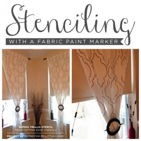 Cutting Edge Stencils shares aDIY stenciled dining room curtains with the Sophia Trellis stencil and a paint pen. http://www.cuttingedgestencils.com/sophia-trellis-stencil-geometric-wall-pattern.html