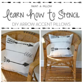 Paint-A-Pillow shares a DIY stenciled accent pillow using the Indian Arrows Paint-A-Pillow kit. http://paintapillow.com/index.php/indian-arrows-paint-a-pillow-kit.html