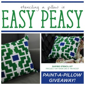 Stenciling a Pillow is Easy Peasy + A Giveaway
