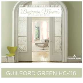 Cutting Edge Stencils shares stenciled home decor ideas using Benjamin Moore's color of the year 2015 Guilford Green.http://www.cuttingedgestencils.com/wall-stencils-stencil-designs.html