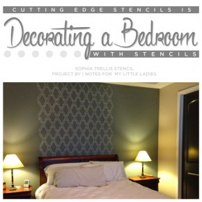 Cutting Edge Stencils shares a DIY stenciled bedroom accent wall using the Sophia Trellis Allover stencil. http://www.cuttingedgestencils.com/sophia-trellis-stencil-geometric-wall-pattern.html