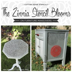 The Zinnia Stencil Blooms On Furniture Makeovers