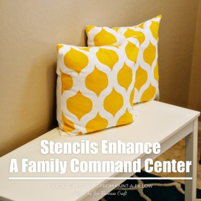 Paint-A-Pillow shares a family command center with Cascade stenciled accent pillows. http://paintapillow.com/index.php/cascade-paint-a-pillow-kit.html