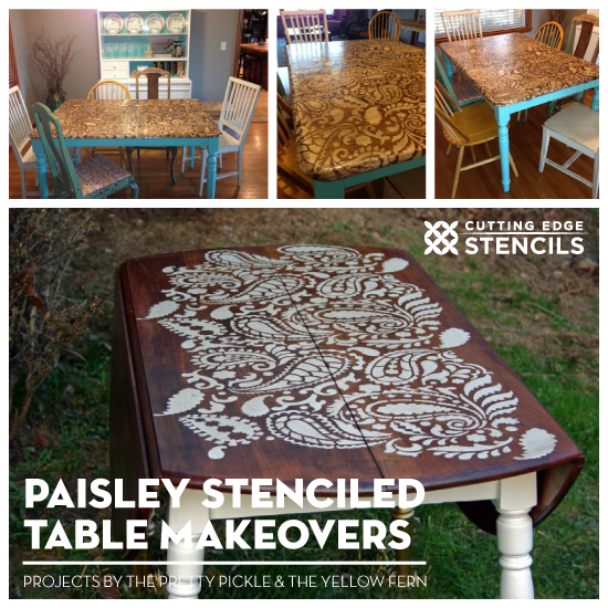 6 Tips For A Kitchen You Can Love For A Lifetime: Paisley Stenciled Table Makeovers