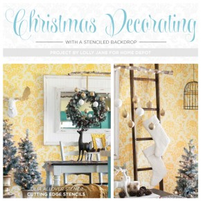 Cutting Edge Stencils shares DIY Christmas decorating ideas for a Julia Allover stenciled dining room. http://www.cuttingedgestencils.com/julia-wall-stencil.html