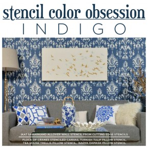 Cutting Edge Stencils shares DIY stenciled home decor ideas in indigo blue. http://www.cuttingedgestencils.com/wall-stencils-stencil-designs.html