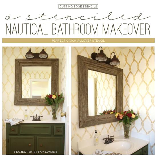 A stenciled nautical bathroom makeover stencil stories for Nautical bathroom ideas