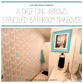 A DIY stenciled bathroom using the Drifting Arrows stencil pattern. http://www.cuttingedgestencils.com/drifting-arrows-stencil-pattern-diy-decor.html