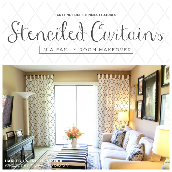 Stenciled Curtains In A Family Room Makeover