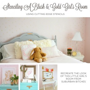 Cutting Edge Stencils shares a DIY blush and gold stenciled girl's room using the Little Diamonds Allover. http://www.cuttingedgestencils.com/little-diamonds-pattern-stencil-for-walls.html