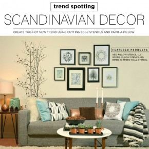 Cutting Edge Stencils shares DIY ideas for introducing Scandinavian decor into your home. http://www.cuttingedgestencils.com/birds-in-trees-wall-stencil-pattern.html