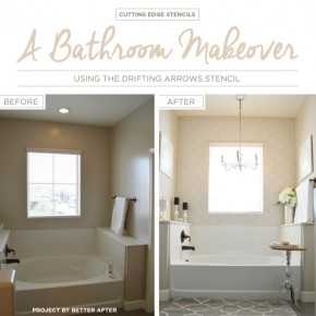 A Bathroom Makeover Using the Drifting Arrows Stencil