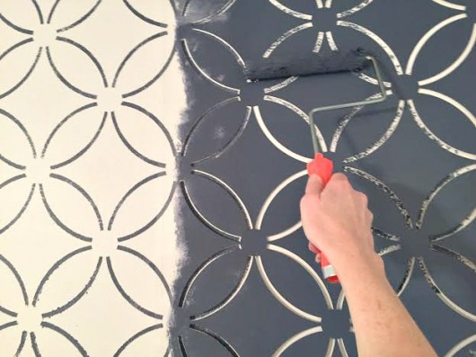 Stenciling Wallpaper Accent Wall