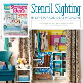 Cutting Edge Stencils shares a stenciled closet featured in DIY Storage Ideas Magazine using the Ikat Samarkand Stencil http://www.cuttingedgestencils.com/ikat-stencil-uzbek.html